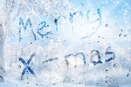 Rain On Glass With Merry X-mass Text Stock Photo, Picture And ...