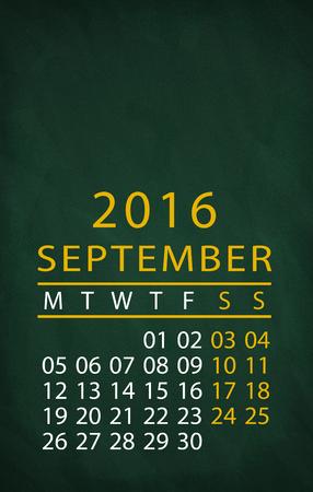 september: 2016 year September month write on the blackboard Stock Photo