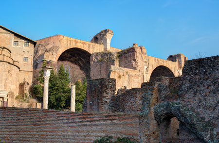 in europe: Ruins on the Palatine hill, historical part in Rome, Italy Stock Photo