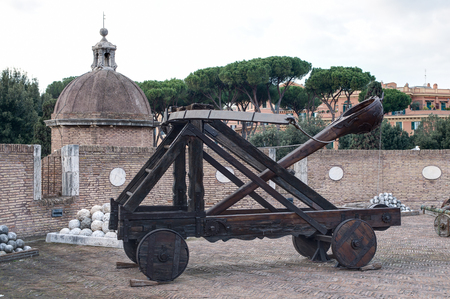 catapults: Old catapults in St Angel castle, Roma, Italy Editorial