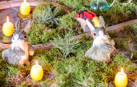osier: Easter decoration with candles, bunny and moss
