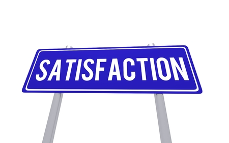excellent service: Blue sign satisfaction isolated on the white background
