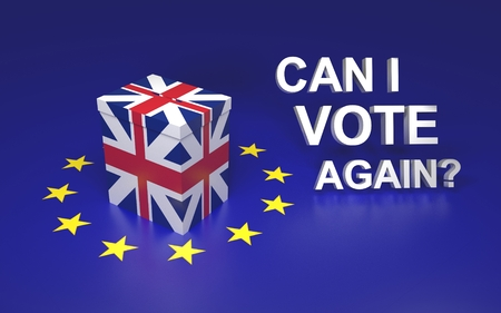 again: The illustration symbolize GB leaving EU voting. Text written Can I vote again? 3D rendering Stock Photo