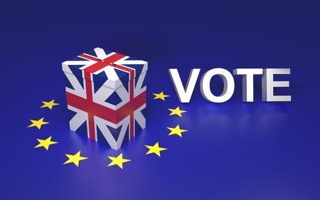 The illustration symbolize GB leaving EU voting. Text written VOTE. 3D rendering