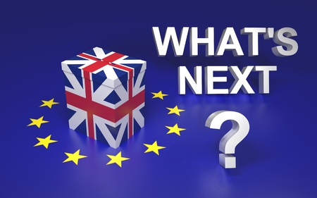 The illustration symbolize GB leaving EU voting. Text written Whats next. 3D rendering Stock Photo