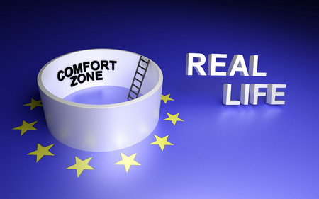 comfort: Comfort zone and real life. 3D rendering. Stock Photo