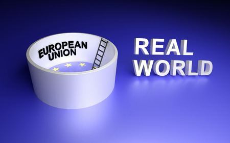 real world: European Union and Real world. 3D rendering.