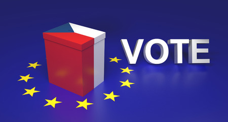 balloting: The illustration symbolize Czech leaving EU voting. Text written VOTE. 3D rendering