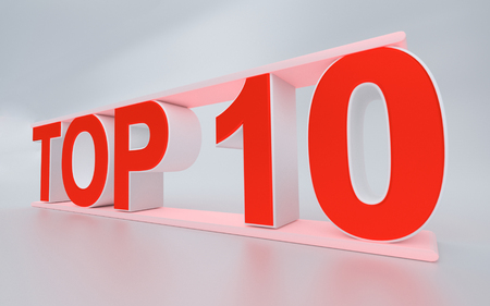 3d rendered illustration of the word top 10
