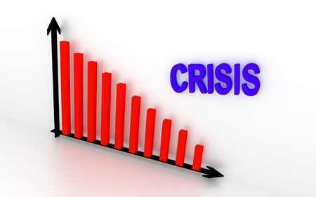 stock price losses: In the illustration showing falling down graph and write crisis. 3D rendering.