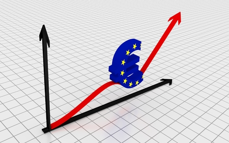 Increasing graph with euro symbol. 3D Rendering. Stock Photo
