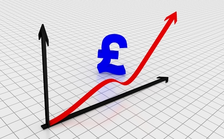 pound symbol: Increasing graph with British pound symbol. 3D Rendering.