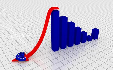 Decreasing graph with euro symbol. 3D Rendering. Stock Photo