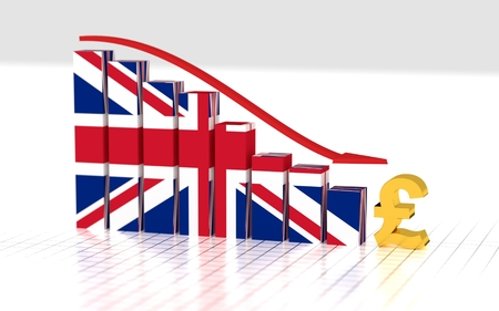 British pound symbol and moving down bar graph. 3D rendering. Stock Photo