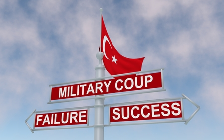 gunfire: The road sign with arrows: military coup, failure or success. 3D rendering.