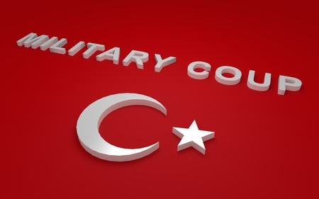 simbols: 3D rendered signs, turkey flag simbols and write military coup. Stock Photo