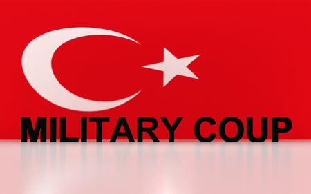corrupted: 3D rendered signs, turkey flag symbols and write military coup. Stock Photo