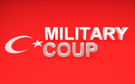 coup: 3D rendered signs, turkey flag symbols and write military coup. Stock Photo
