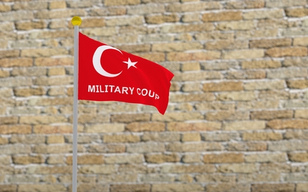 coup: 3D rendered turkey flag and write military coup.
