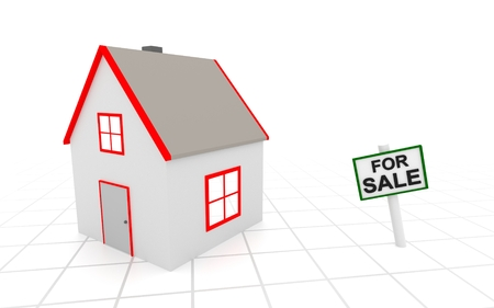 house for sale: House for sale sign on white background. 3D rendering. Stock Photo