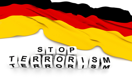 condolence: Germany flag and write stop terrorism. 3D rendering.