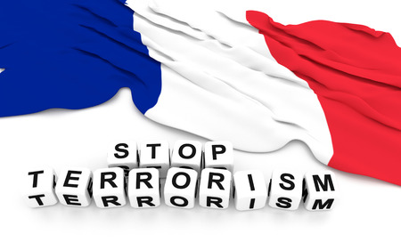 mourn: France flag and write stop terrorism. 3D rendering. Stock Photo