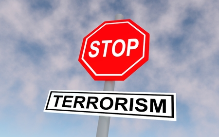 sabotage: The road sign with text stop terrorism. 3D rendering.