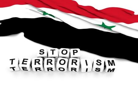 syria peace: Syria flag and write stop terrorism. 3D rendering. Stock Photo