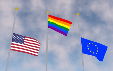 bisexual: America, Rainbow and Europe flags in sky background. 3D rendering.