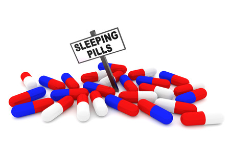 sleeping pills: Sleeping pills concept with pills isolated on white background. 3D rendering