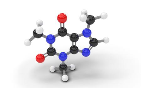 Structural model of caffeine molecule. 3D render.