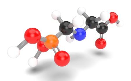 genetically modified organisms: Structural model of glyphosate molecule. 3D render.