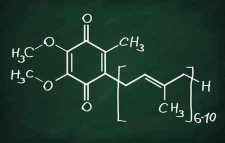 structural: Structural model of Coenzyme Q10 on the blackboard. Stock Photo