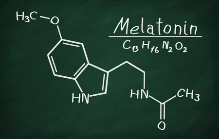structural: Structural model of Melatonin on the blackboard.