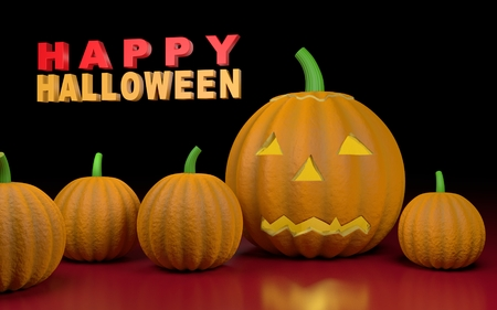 Illustration with pumpkins and text Happy halloween. 3D rendering. Stock Photo
