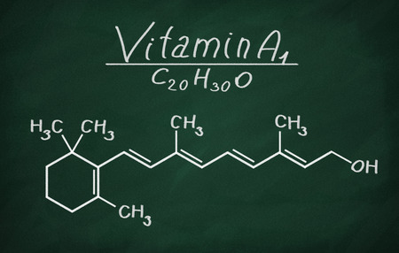 carotene: Structural model of Vitamin A1 (retinol) on the blackboard.