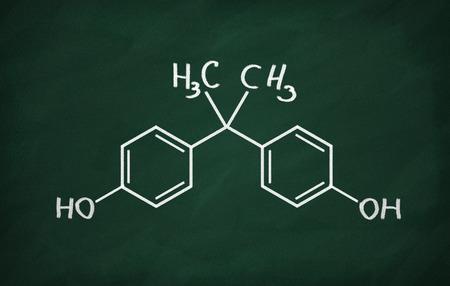 bisphenol a: Structural model of BPA (bisphenol) on the blackboard.