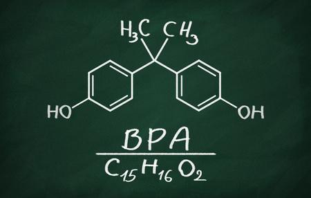 Structural model of BPA (bisphenol) on the blackboard.