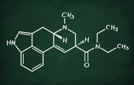 structural: Structural model of LSD on the blackboard. Stock Photo
