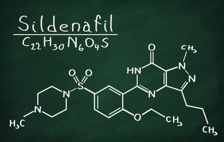 Structural model of Sildenafil on the blackboard.