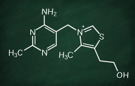Structural model of Vitamin B1 (Thiamine) on the blackboard.
