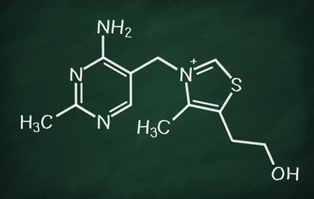structural formula: Structural model of Vitamin B1 (Thiamine) on the blackboard.