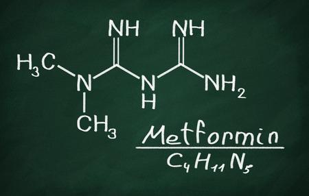metformin: Structural model of Metformin on the blackboard.