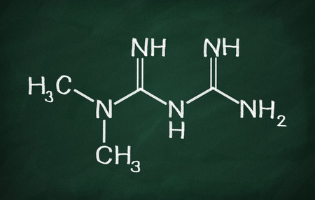 Structural model of Metformin on the blackboard.