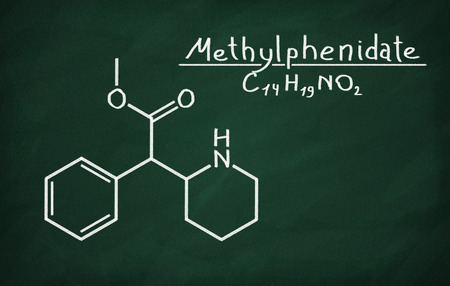 Structural model of Methylphenidate on the blackboard.