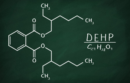 phthalates: Structural model of DEHP on the blackboard. Stock Photo