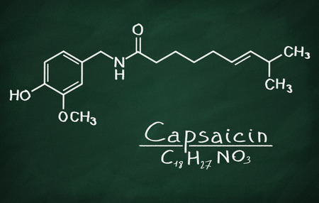 Structural model of Capsaicin on the blackboard.