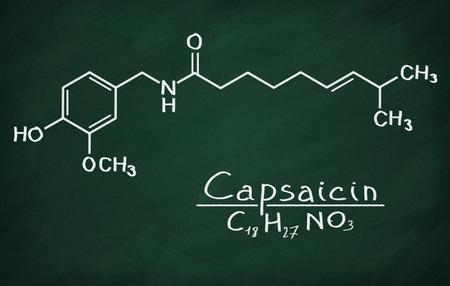 capsaicin: Structural model of Capsaicin on the blackboard.