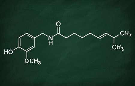 structural: Structural model of Capsaicin on the blackboard.