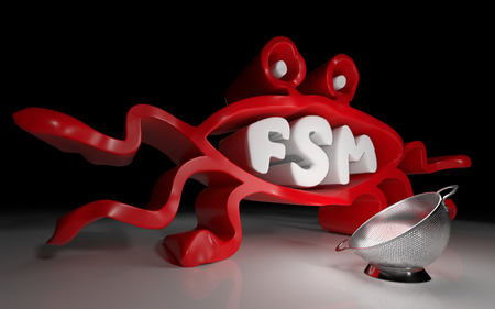 Pastafarianism sign with text FSM and strainer. 3D rendering